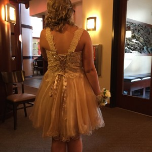 Back of Samantha's dress - at the restaurant.  Benihana is the way to go!